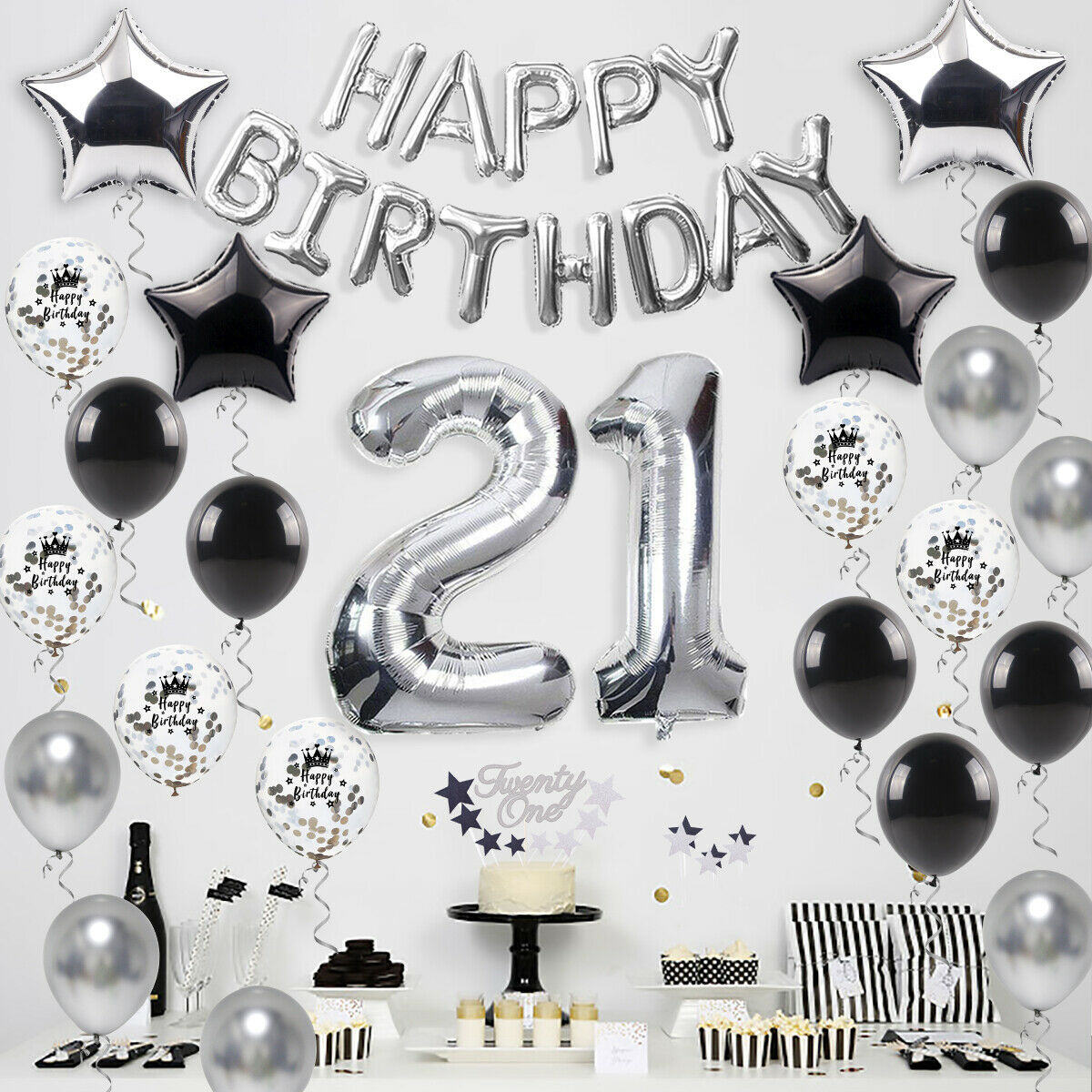 Party Backdrop Decoration 21st Birthday Banner Black and Silver Glitter
