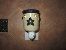 Scentsy Plug-In Wax Bars Warmer RETIRED Tan Brown Stars Crock With Working Bulb