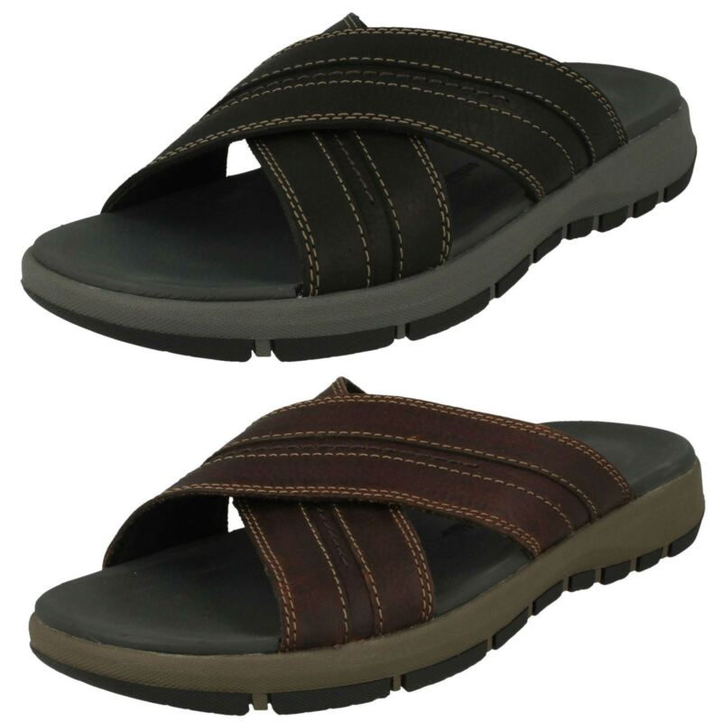 Mens Clarks Slip On Sandals Brixby Cross