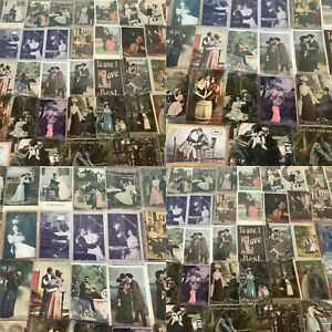 Huge-Lot-of-Romantic-Vintage-Antique-Postcards-Men-Ladies-People-Romance-s781