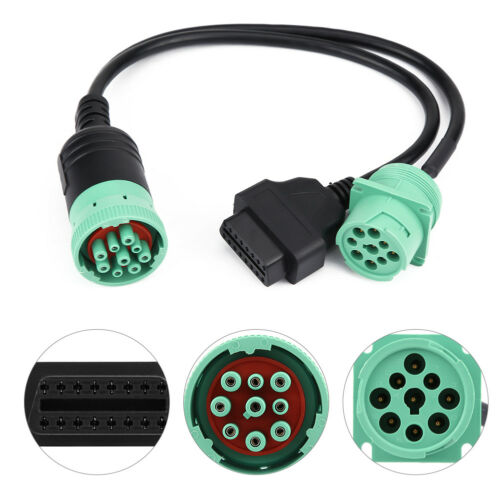 Green 9 Pin Type J1939 to OBD2 Splitter Truck Freightliner 16Pin Male to Female