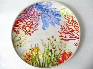 Image is loading Sea-Life-Dinner-Plate-Set-of-4-Melamine-  sc 1 st  eBay & Sea Life Dinner Plate Set of 4 Melamine Dinnerware 10.5 Inch Coral ...