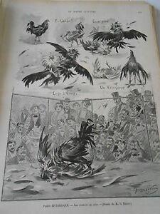 Bien Gravure 1899 Les Combats De Coqs Le Prix Reste Stable