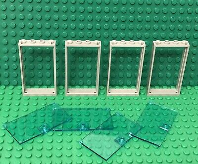 Lego 10 Trans-clear Glass 1x4x6 With Light Bluish Gray Frame Assemblies Parts