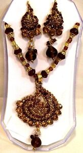 Bollywood Designer Gold Plated Partywear Necklace, Earrings Set