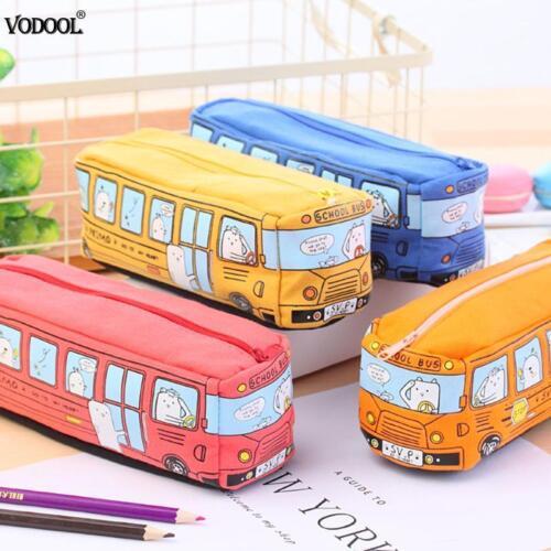 Creative Bus Pencil Bag Canvas Large Capacity Car Zipper Pencil Box