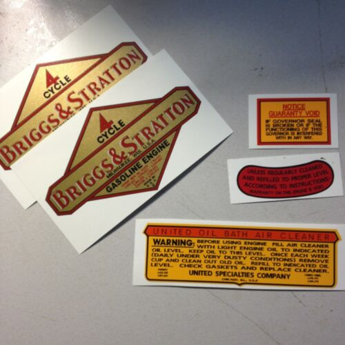 And Others With Mechanical Governors Set of 5 Briggs /& Stratton decals for N
