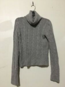 Details about J.crew Cashmere Wool Rabbit Hair Size S Gray Cable Knit TurtleNeck Sweater Women