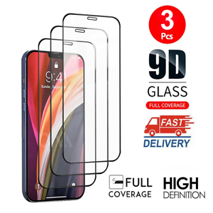 For iPhone 11 12 Pro X XR XS Max 3Pcs Full Cover Tempered Glass Screen Protector