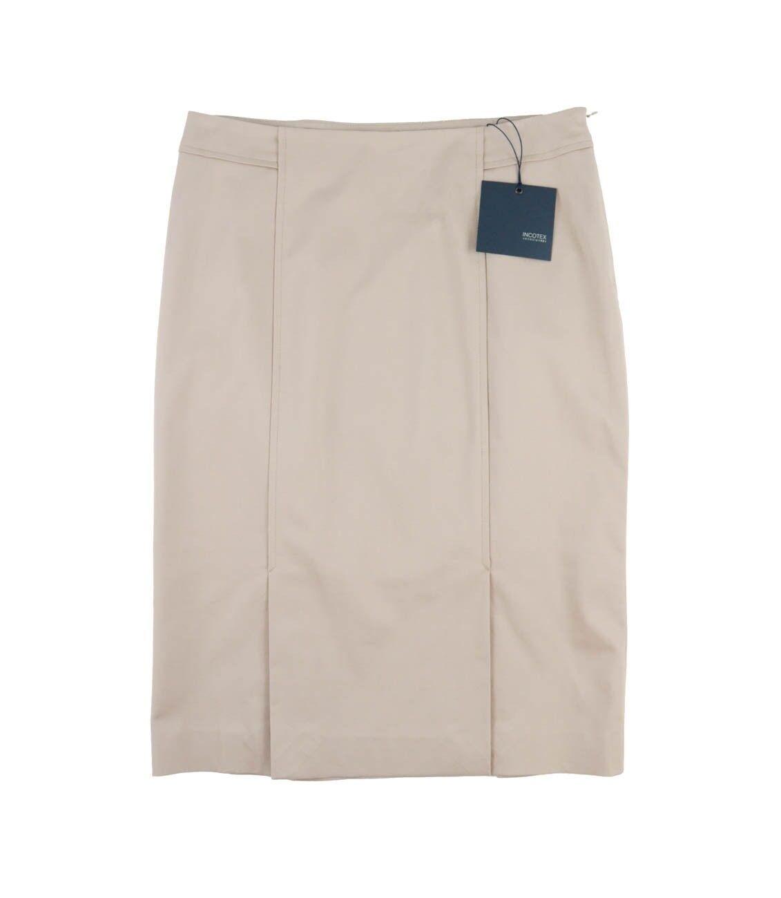 NWT Women's INCOTEX Venezia Solid Tan Cotton Dress Pencil Skirt EU42 US12