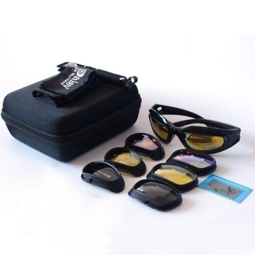 4 Lenses Military Daisy C5 Polarized Goggles Hunting Sunglasses Desert Storm