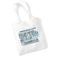 Art Studio Tote Bag LED ZEPPELIN Lyrics Print Album Poster Beach Shopper Gift