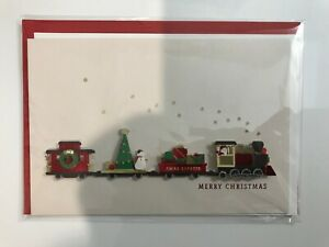 Christmas-Card-w-3D-Choo-Choo-Train-w-presents-snowmen-Santa-Christmas-Tree