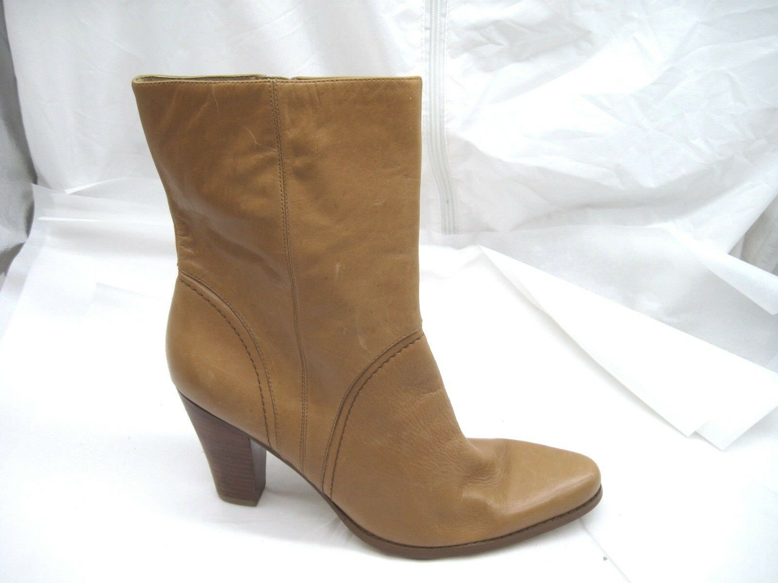Nine West 9.5M Jeanettao tan caramel brown ankle Womens Ladies Dress Boots shoes