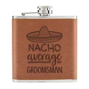 Nacho-Moyenne-Groomsman-170ml-Cuir-PU-Hip-Flasque-Fauve-Best-Mariage-Awesome