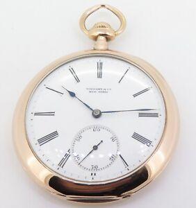 Tiffany-amp-Co-18K-Gold-High-Grade-Mens-47-7mm-Pocket-Watch-Warren-Family-Crest