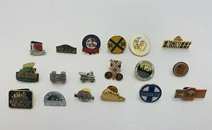 Vintage - 18 Railroad or Train Related Pin-back Buttons