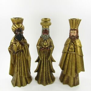 Vintage-Set-of-3-Three-Kings-Wise-Men-Japan-Gold-Pillar-Candle-Holders-Christmas