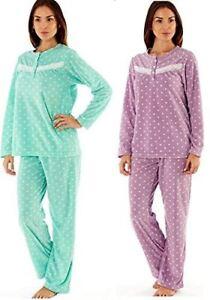 11f85f10d Ladies Fleece PJ Dot Print Pyjama Set 100% Polyester Micro Fleece ...