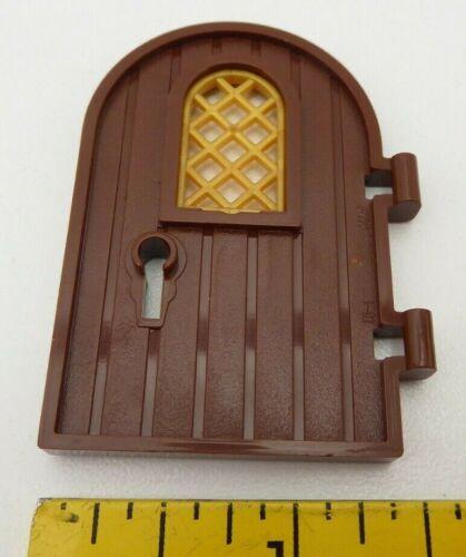 1x Porta Lego 64390 1 X 4 X 6 Round Top Janela Fechadura Reforçada Borda Marrom