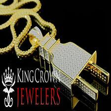 Mens 10K Yellow Gold Silver Lab Diamond Pendant Socket Plug Fuse Charm Chain Set
