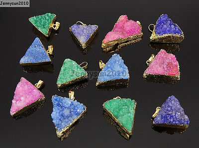 Natural Druzy Quartz Agate Triangle Pendant Gold Edge Charm Beads Necklace 18K