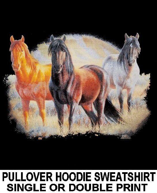 MUSTANG QUARTERHORSE ROT SORREL CHESTNUT BAY DAPPLE grau HORSE HOODIE SWEATSHIRT