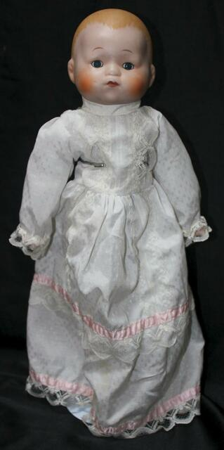 "VINTAGE - Unmarked Doll - 80/90s - 17"" Porcelain Features Doll - FREE SHIPPING"
