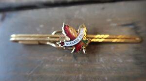Vintage-Gold-Tone-Enamel-Maple-Leaf-Canadian-Niagara-Falls-Tie-Clip-Clasp-7-2cm