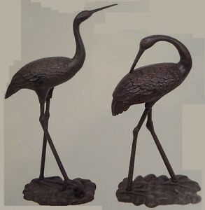 2 large iron egrets egret garden statue yard art decorative outdoor lawn figures - Statue decorative interieur ...