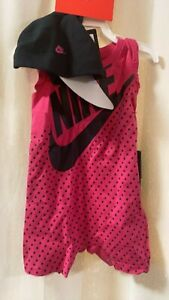 Coverall /& Bib NWT Nike Baby Girl 2 Piece Set Sz 6 Month ~ Echo Pink