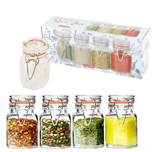 Details about 8 Spice Glass Jars Mini Herb Airtight Kitchen Storage Set  Small Candy Container