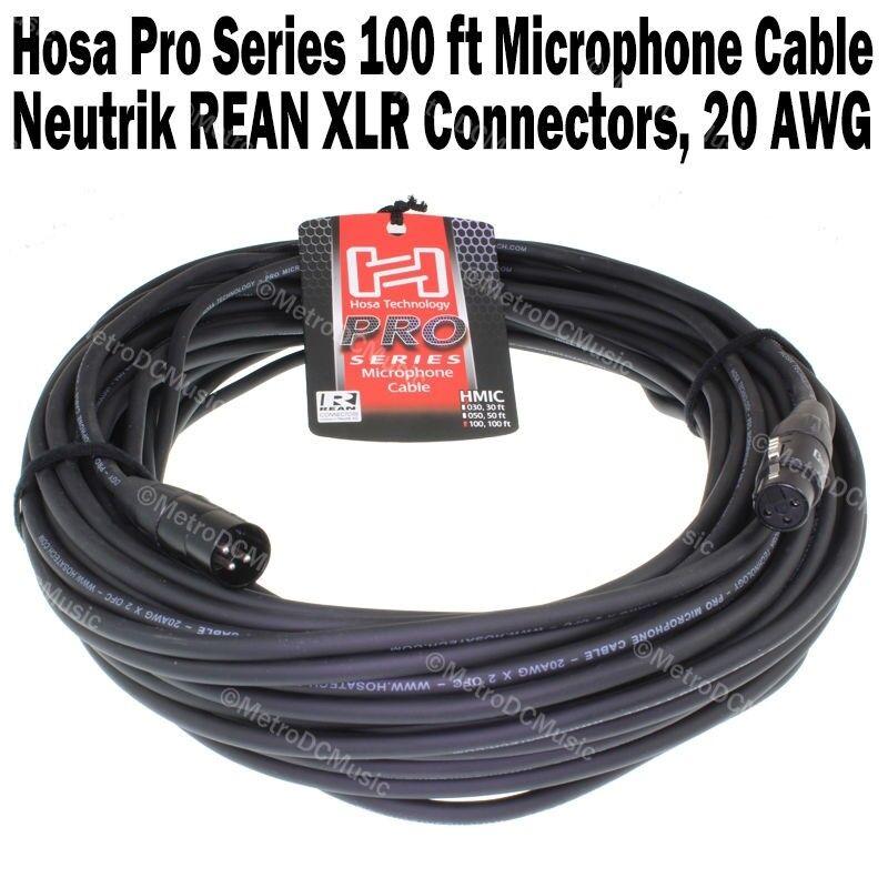 Hosa Pro Series 100 ft XLR Microphone Cable Neutrik REAN Connectors HMIC-100