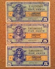 Lot 3 X United States Military Banknotes. 5 Cents. Series 521
