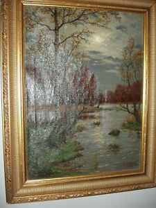 FRAMED-SIGNED-19THC-FALL-EVENING-MOON-RIVER-LANDSCAPE-OIL-ON-CANVAS-PAINTING