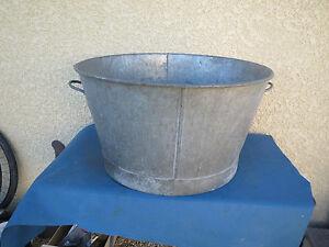 ancienne grande bassine en zinc d co jardin old zinc bucket french antique ebay. Black Bedroom Furniture Sets. Home Design Ideas