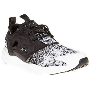 New Mens Reebok Black Furylite Nylon Trainers Running Style Lace Up