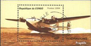 congo-brazzaville-Bloc-126-oblitere-1994-hydravions