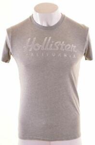 Hollister-Camiseta-Top-Grafico-de-hombre-en-Gris-Algodon-MO20