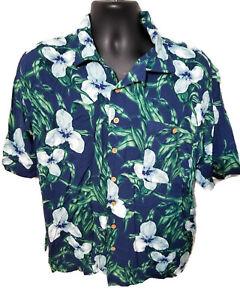Tropicool-Hawaiian-Aloha-Shirt-Size-XL-100-Rayon-Blue-Floral
