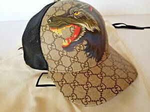3c949582ca0 Image is loading NEW-GUCCI-GG-SUPREME-WOLF-BASEBALL-CAP-HAT-