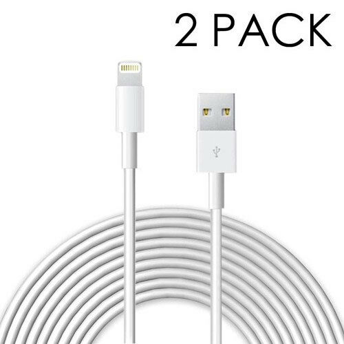 2m 8 Pin to USB 6 Foot Cables for iPhone 5//6//7//8 /& iPads in White 2 PACK