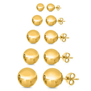 14K-Yellow-Gold-Plated-Ball-Stud-Earrings-Sizes-2-10mm-GIFTBOX-ITALY