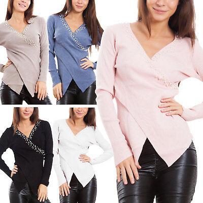 Maglione donna pullover incrocio scollo V portafoglio manica lunga nuovo