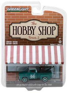 1-64-GreenLight-HOBBY-SHOP-2-GREEN-1956-Ford-F-100-Tow-Truck-Wrecker-NIP