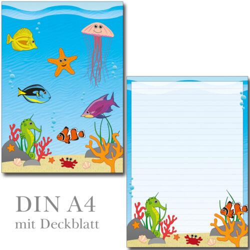 2 Schreibblock Unterwasserwelt Fisch Seepferd A4 24 Blatt Briefpapier Briefblock