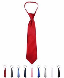 Boy-039-s-Solid-Color-Poly-Zipper-Tie-BLZ