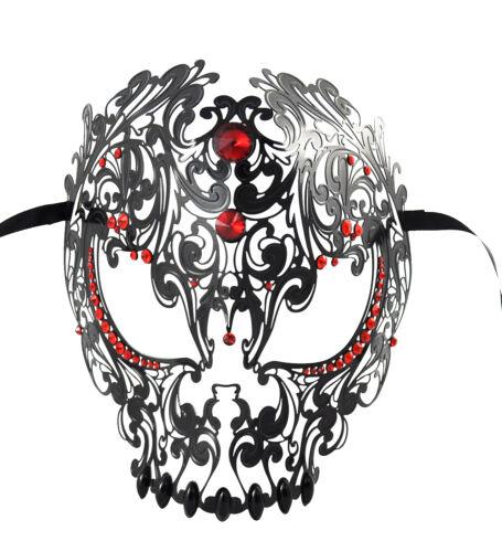 Demon Skull Laser Cut Black Metal Masquerade Mask With Red Rhinestones