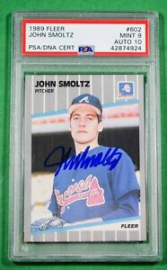 1989 FLEER #602 JOHN SMOLTZ Rookie AUTO PSA 9 Auto 10 🏦 Hall of Fame Braves