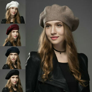 Women-Ladies-Vintage-Winter-Warm-Wool-Cap-Felt-French-Beret-Beanie-Elegant-Hat